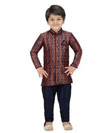 Shree Shubh Ethnic Full Sleeves Kurta Breeches Set - Blue Red