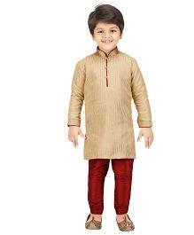 Shree Shubh Ethnic Kurta Pajama Set - Beige Maroon
