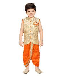 Shree Shubh Ethnic Dhoti Kurta Set - Golden Orange