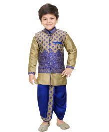 Shree Shubh Full Sleeves Ethnic Kurta Dhoti Set - Blue