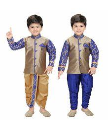 Shree Shubh Ethnic Dhoti Kurta & Pyjama Set Of 3 - Blue Golden