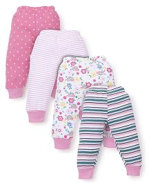 Kidi Wav Multi Print Pack Of 4 Pajamas - Pink