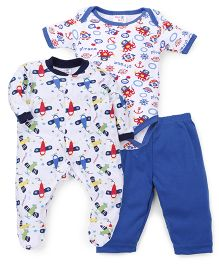 Kidi Wav Flight Print Romper Onesie Pajama Set - White & Blue