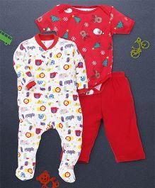 Kidi Wav Animal Kingdom Print Romper Onesie Pajama - White & Red