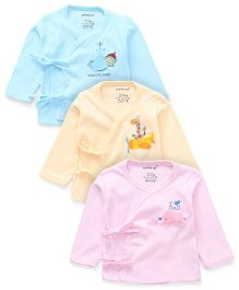 Doreme Long Sleeves Front Tie Up Vest Pack Of 3 - Pink Aqua Peach