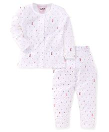 Doreme Full Sleeves Night Suit With Anchor Print - White & Red