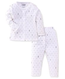 Doreme Full Sleeves Night Suit With Anchor Print - White & Navy
