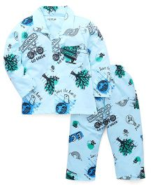 Doreme Full Sleeves Night Suit Go Green Print - Blue