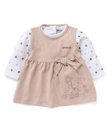 Doreme Frock With Full Sleeves Printed Inner Top - Brown White