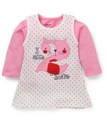 Doreme Frock With Inner Top Polka Print & Number Applique - Pink White