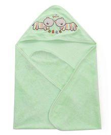 Doreme Bear Patch Hooded Bath Towel - Green