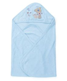 Doreme Hooded Wrapper With Teddy Embroidery - Blue