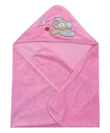 Doreme I Love Mommy Embroidered Hooded Bath Towel - Pink
