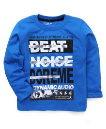 Doreme Full Sleeves T-Shirt Beat Noise Print - Blue
