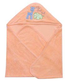 Doreme Elephant And Giraffe Patch Hooded Bath Towel - Orange