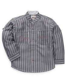 Kiddy Mall Striped Full Sleeves Shirt - Grey