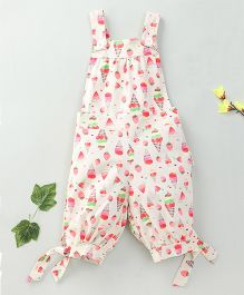Little Fairy Ice Cream Print Dungaree With Cream Buttons - Cream