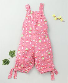 Little Fairy Ice Cream Print Dungaree With Brown Buttons - Pink