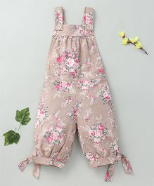 Little Fairy Flower Print Dungaree - Brown