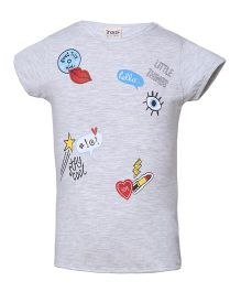 Tales & Stories Short Sleeves Printed And Embroidered Slim Fit T-Shirt - Light Grey