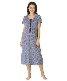 Morph Half Sleeves Maternity Night Gown - Blue