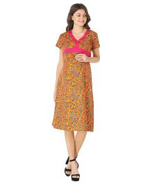 Morph Half Sleeves Maternity Dress Geometric Print - Yellow