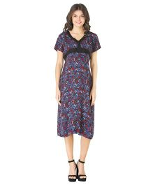 Morph Half Sleeves Maternity Dress Butterfly Print - Blue