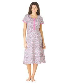 Morph Half Sleeves Maternity Night Gown Floral Print- White Pink