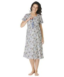 Morph Half Sleeves Maternity Night Gown Floral Print- Cream Blue