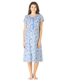 Morph Half Sleeves Maternity Night Gown Floral Print - White Blue