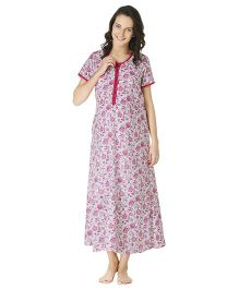 Morph Half Sleeves Maternity Night Gown Floral Print - White Pink