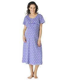 Morph Half Sleeves Maternity Night Gown Floral Print - Lavender