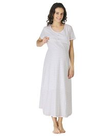 Morph Half Sleeves Maternity Night Gown Stripes Print - Off White