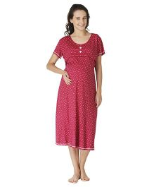 Morph Half Sleeves Maternity Night Gown Floral Print - Red