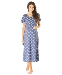 Morph Half Sleeves Maternity Night Gown Stars Print - Blue