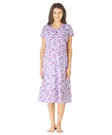 Morph Half Sleeves Maternity Night Gown Floral Print - White Purple