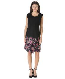 Morph Sleeveless Maternity Dress Floral Print - Black