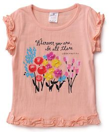 Smarty Short Sleeves Printed Top With Floral Motifs - Peach