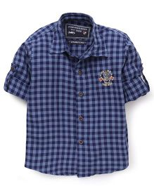 Jash Kids Full Sleeves Shirt Checks Pattern - Navy Blue