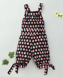 Little Fairy Cup Cake Print Dungaree - Black