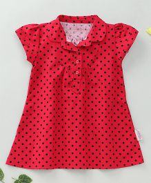 Little Fairy Polka Dot Print Dress - Red
