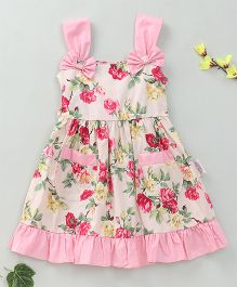 Little Fairy Rose Flower Print Dress - Cream