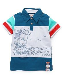 Kiddy Mall Half Sleeves T-Shirt With Front Buttons - Sea Green & White