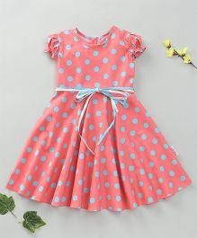 Little Fairy Cap Sleeves Polka Dot Dress - Pink