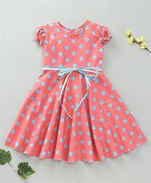 Little Fairy Cap Sleeves Polka Dot Dress - Pink