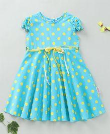 Little Fairy Cap Sleeves Polka Dot Dress - Aqua Blue