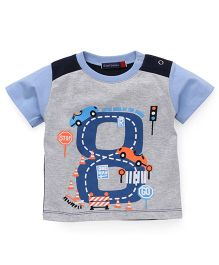 Great Babies Ring Rod Print T-Shirt With Snap Buttons - Grey & Sky Blue