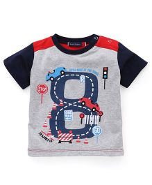 Great Babies Ring Rod Print T-Shirt With Snap Buttons - Grey & Navy Blue
