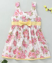 Little Fairy Floral Print Dress With Bow - Off White