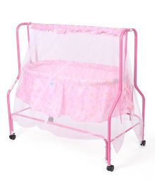 Mee Mee Cradle With Mosquito Net Smile Print - Pink